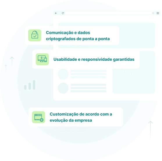 3 benefícios de contratar a ferramenta: 1º Comunicação e dados criptografados de ponta a ponta; 2º Usabilidade e responsividade garantidas e 3º Customização de acordo com a evolução da empresa