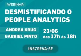 Banner sobre webinar Desmistificando People Analytics, com Andrea Krug e Gabriel Pinto Texto alternativo da sua imagem