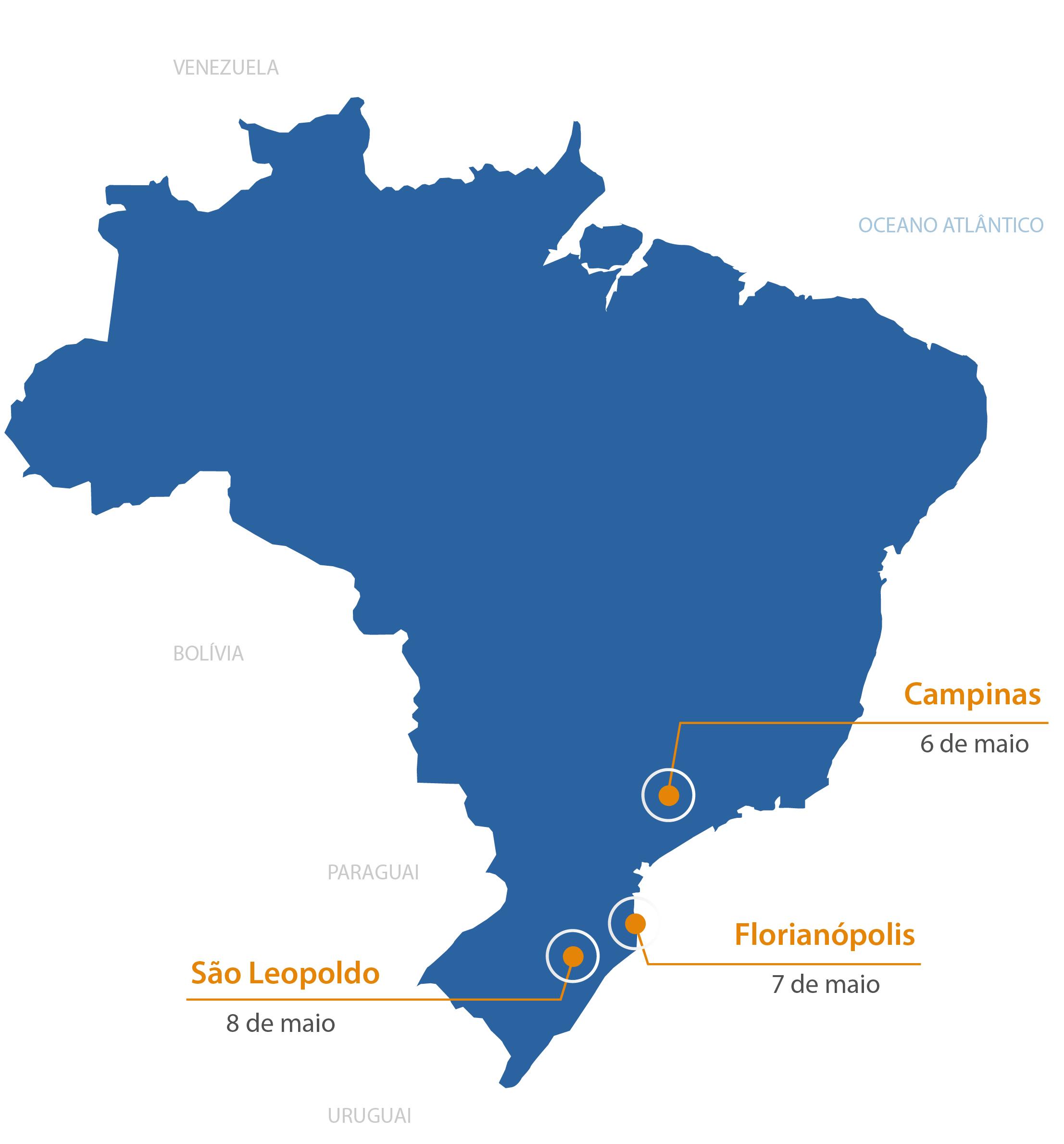 Mapa do Brasil apontando as datas e locais das imersões