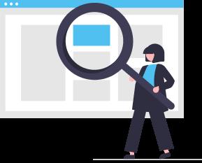 imagem de uma mulher segurando uma lupa representando estudos, insights e notícias