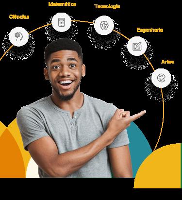 Na imagem, lê-se: homem negro apontando para as cinco áreas do conhecimento que são foco da metodologia de ensino do SESI. Da direita para esquerda a primeira é Artes, a segunda é Engenharia, a te