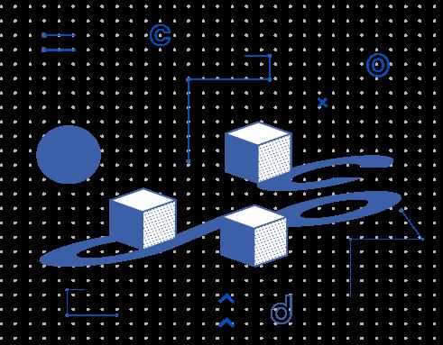 Elementos com ilustrações geométricas escrito cod