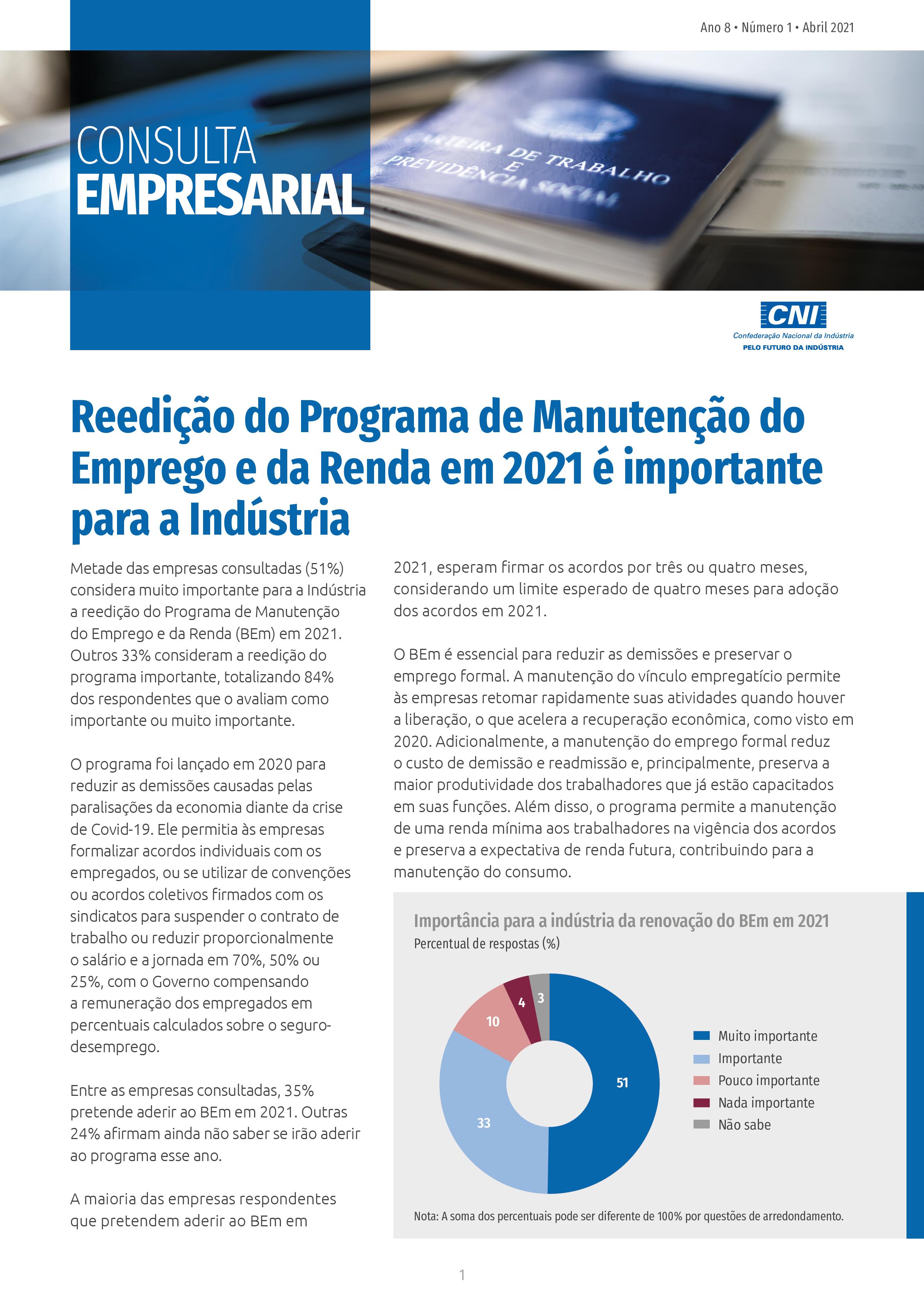 CE - Programa de Manutenção do Emprego e da Renda em 2021