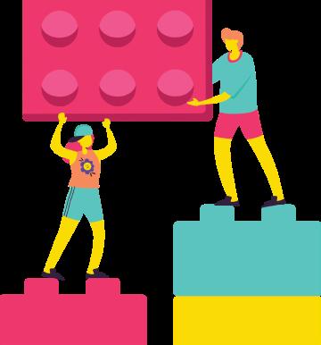 imagem de 2 pessoas interagindo com legos