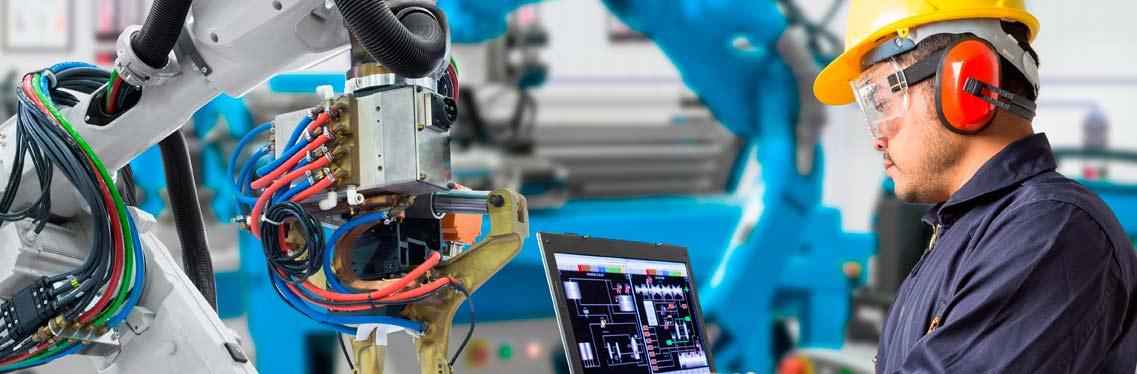 Automação industrial robô soldador computadorizado, exemplo de inovação da indústria 4.0