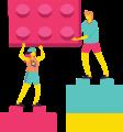 imagem de um lego e 2 pessoas em cima de outros 2 legos