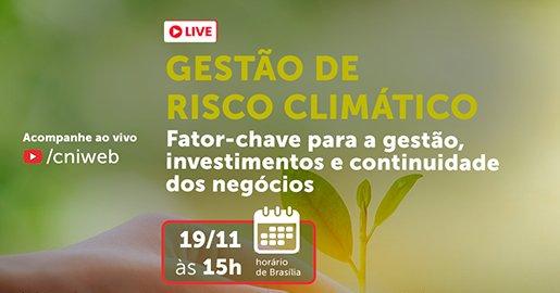Identidade visual da live Gestão do risco climático