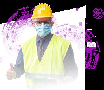 imagem de um trabalhador mascarado contra a covid19