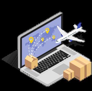 Ilustração de laptop aberto com imagens referentes à exportação de produtos Texto alternativo da sua imagem
