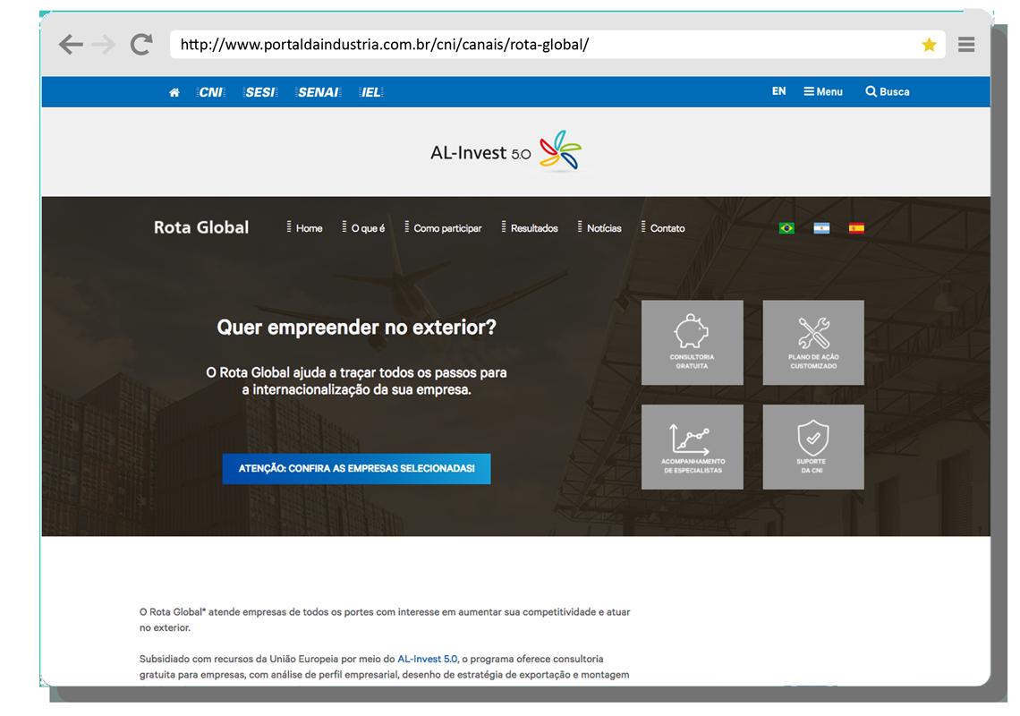 Imagem do site do Rota Global