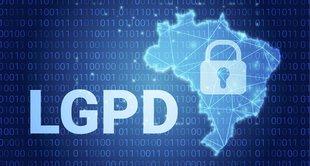 imagem de a sigla LGPD e o mapa do Brasil com um cadeado representando proteção de dados