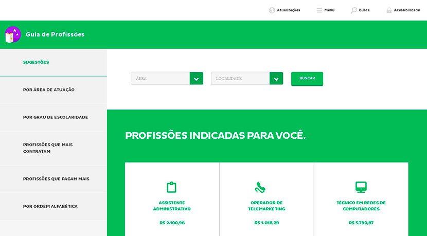 Captura de tela da plataforma do Mundo SENAI sobre Guia de Profissões