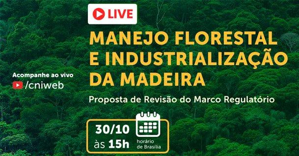 Identidade visual da live Manejo Florestal e Industrialização da Madeira – Proposta de Revisão do Marco Regulatório