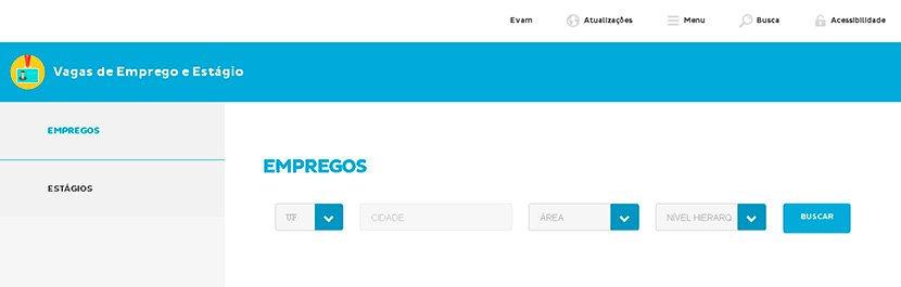 Captura de tela da plataforma Mundo SENAI sobre vagas de estágio e emprego