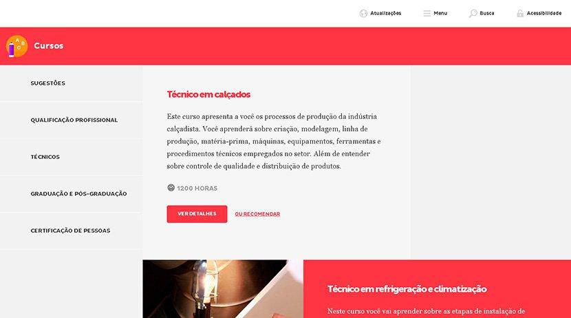 Captura de tela da página de cursos da plataforma Mundo SENAI