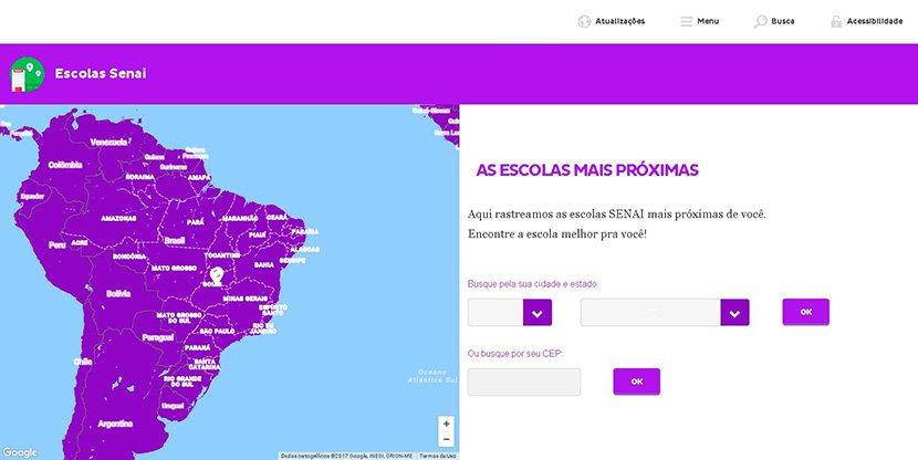 Captura de tela da plataforma Mundo SENAI sobre escolas e faculdades
