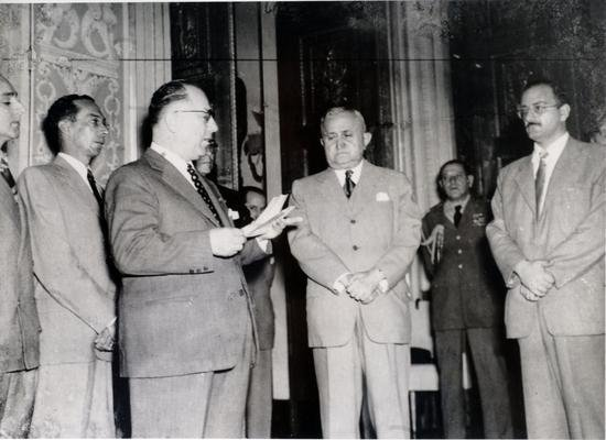 Euvaldo Lodi em visita ao Palácio do Catete