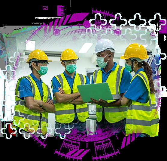 imagem de trabalhadores conversando representando contrato de gestão sst