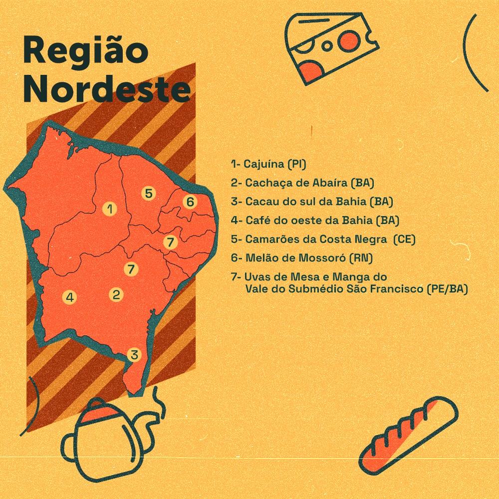 Card descreve as indicações geográficas gastronômicas da região Nordeste do Brasil: cajuína (PI), cachaça de abaíra (BA), cacau (BA), café do oeste da Bahia, camarões (CE), melão (RN) e uvas de mesa (PE/BA)