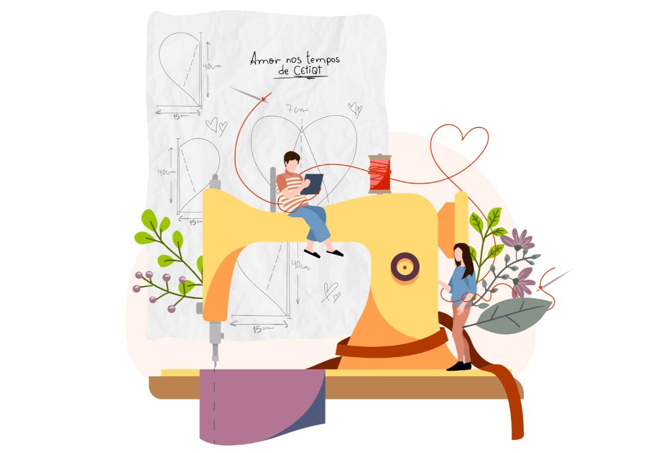 """Ilustração: Máquina de costura amarela,com um tecido roxo. Em cima da máquina, há um """"mini"""" homem de blusa listrada sentado com um tablet. Ao lado direito da máquina, há uma mulher em pé. No fundo da imagem, há gráficos com linhas que formam um coração."""