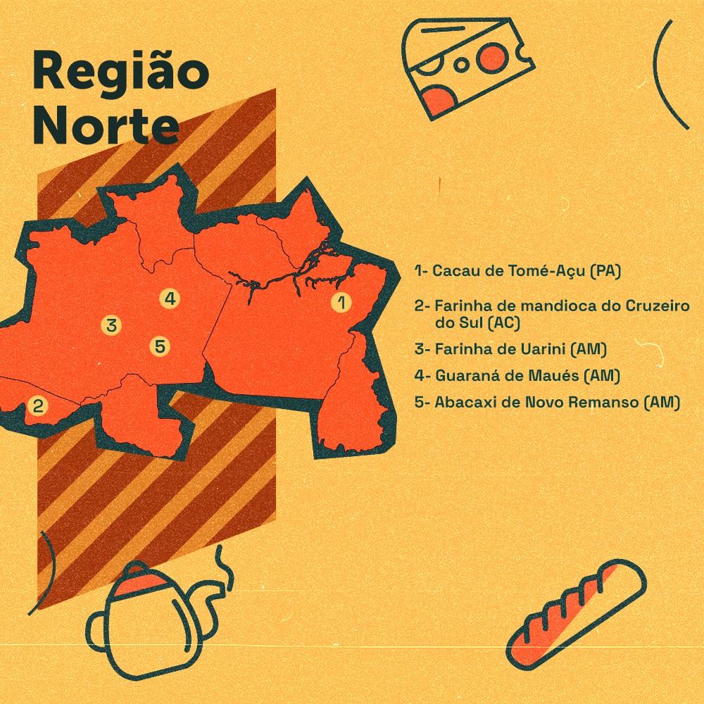 Card descreve as indicações geográficas gastronômicas da região Norte do Brasil: cacau de Tomé-Açu (PA), farinha de Uarini (AM), farinha de Cruzeiro do Sul (AC), guaraná de Maués (AM) e abacaxi de Novo Remanso (AM)
