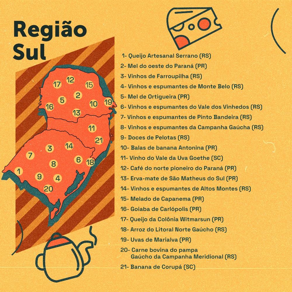 Card descreve as indicações geográficas gastronômicas da região Sul do Brasil