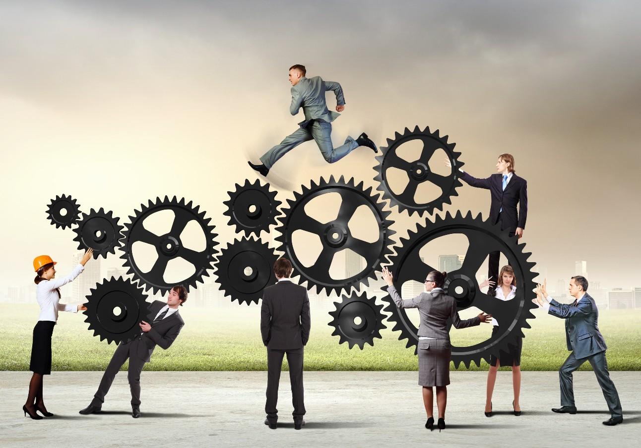 Imagem conceitual das empresas a vapor trabalhando de forma coesa. Interação e unidade