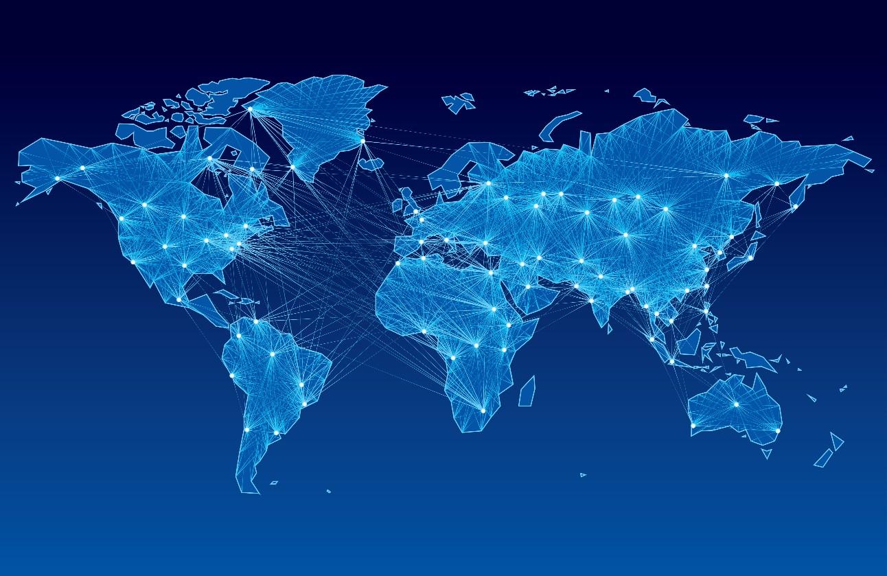 Ilustração do mapa mundi com conexões entre países ilustra cadeias globais de valor