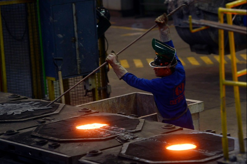 Metalúrgica Durametal durante fabricação de cubos de rodas.