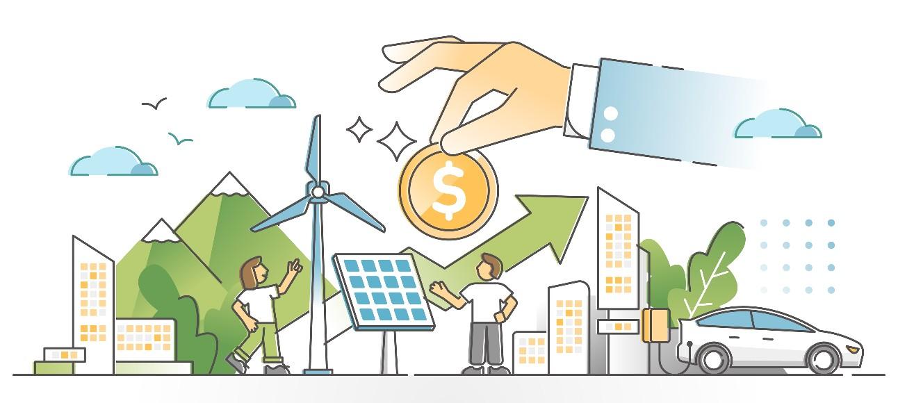 ilustração colorida traz elementos de sustentabilidade, como energia eólica e solar, para ilustrar mercado de carbono
