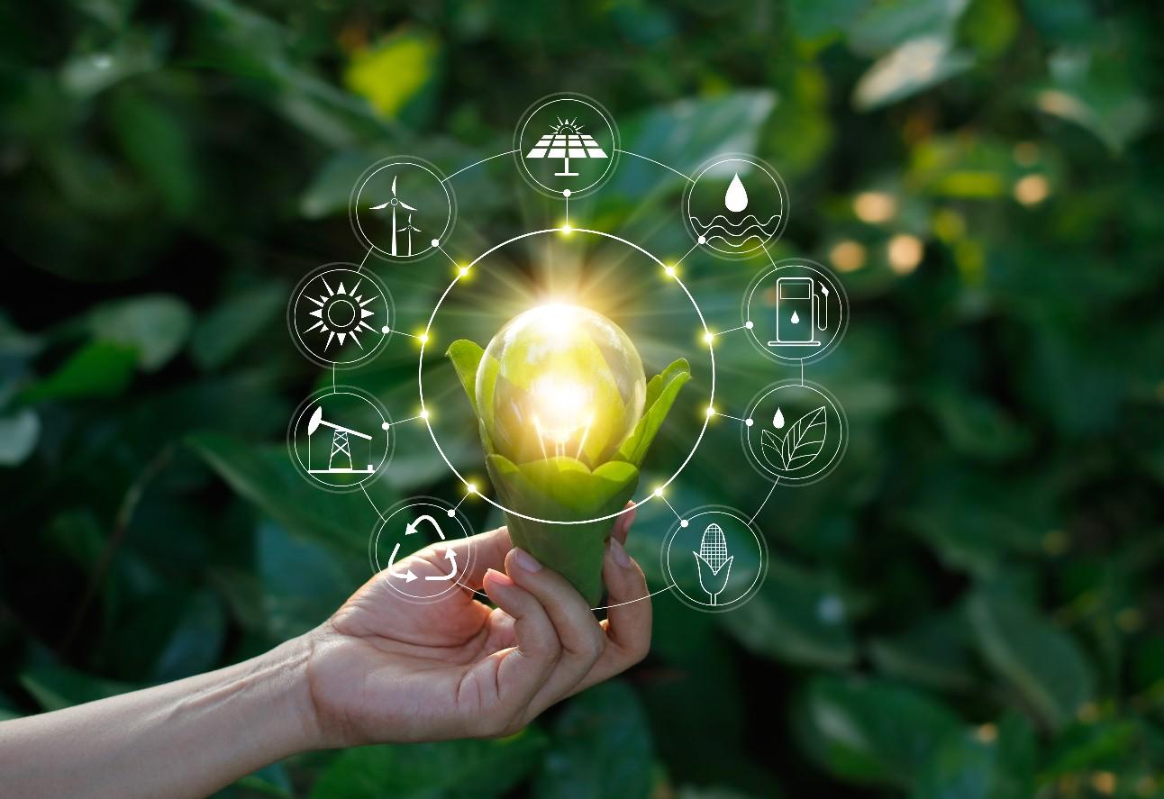 Lâmpada de mão segurando contra a natureza na folha verde com ícones fontes de energia para o desenvolvimento sustentável e renovável. Conceito de ecologia.