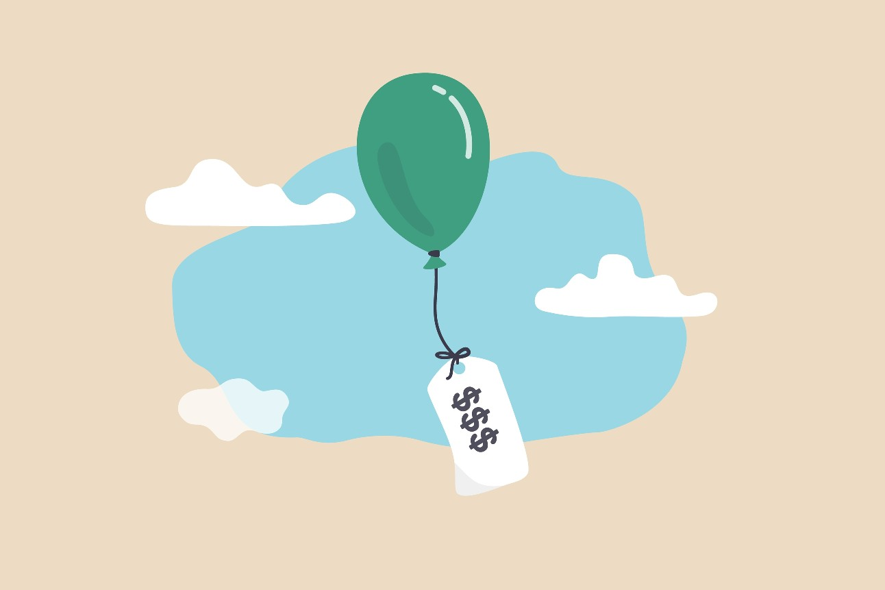arte: balão com dinheiro pendurado