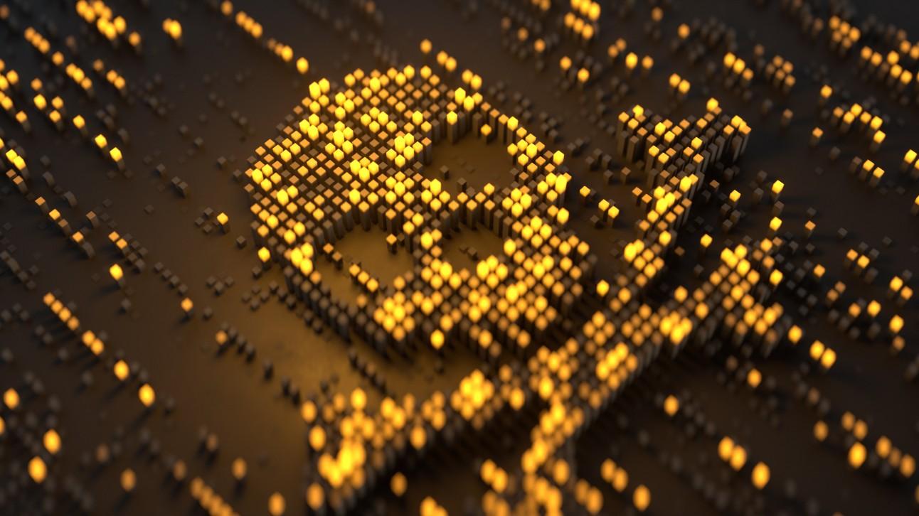 Imagem de uma caveira que transmite a ideia de pirataria com comércio digital