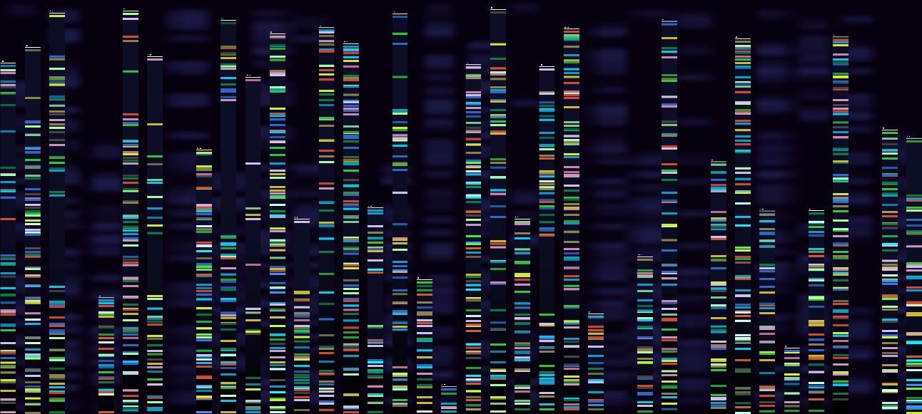 imagem abstrata reproduz sequenciamento genético digital