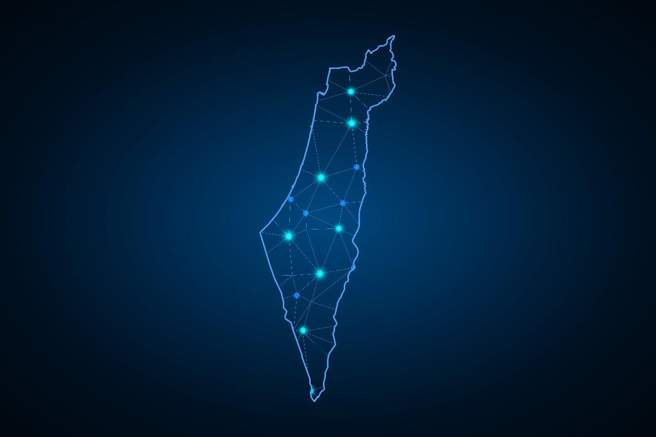 Ilustração em 3D mostra mapa de Israel em azul