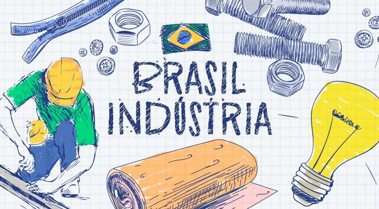 """Arte: ilustração com ferramentas, homem trabalhando e a frase """"Brasil Indústria"""""""
